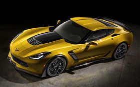 2,015 Chevrolet Corvette Z06 supercar jaune HD Fonds d'écran