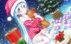 Noël anime girl HD Fonds d'écran