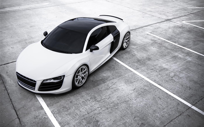 audi r8 voiture blanche hd fonds d 39 cran voitures fond d 39 cran aper u fr. Black Bedroom Furniture Sets. Home Design Ideas