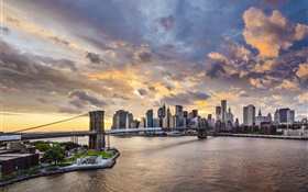 Pont de Brooklyn, New York City, Manhattan, Etats-Unis, les gratte-ciel, crépuscule HD Fonds d'écran