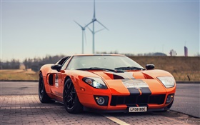 Ford GT supercar d'orange vue de face HD Fonds d'écran