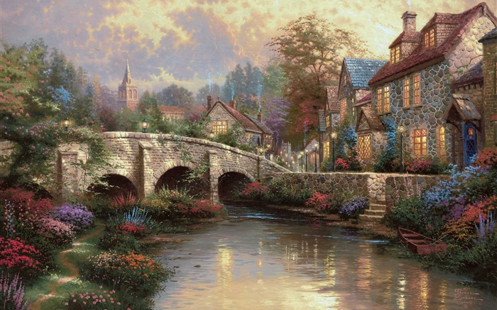 Angleterre, Wiltshire District, campagne, village, maison, pont, peinture d'art Fonds d'écran, image