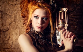 Belle fille, arme, le style steampunk blond HD Fonds d'écran