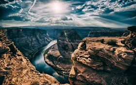 River, Horseshoe Bend, Arizona, Etats-Unis, canyon, soleil, nuages HD Fonds d'écran