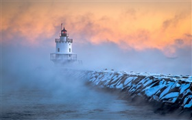 South Portland, Maine, le phare, le gel, l'aube, brouillard