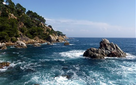Espagne, mer, côte, roches, nature paysages