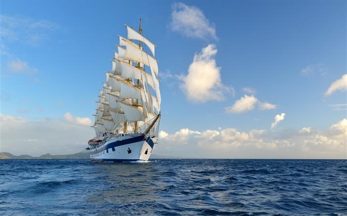 Voilier Bateau Mer Bleue Ciel Nuages Hd Fonds D Ecran Voyage Fond D Ecran Apercu Fr Hdwall365 Com