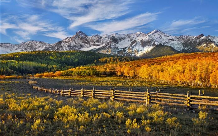 foto de Beau paysage d'automne, montagnes, forêt, clôture HD Fonds d'écran ...