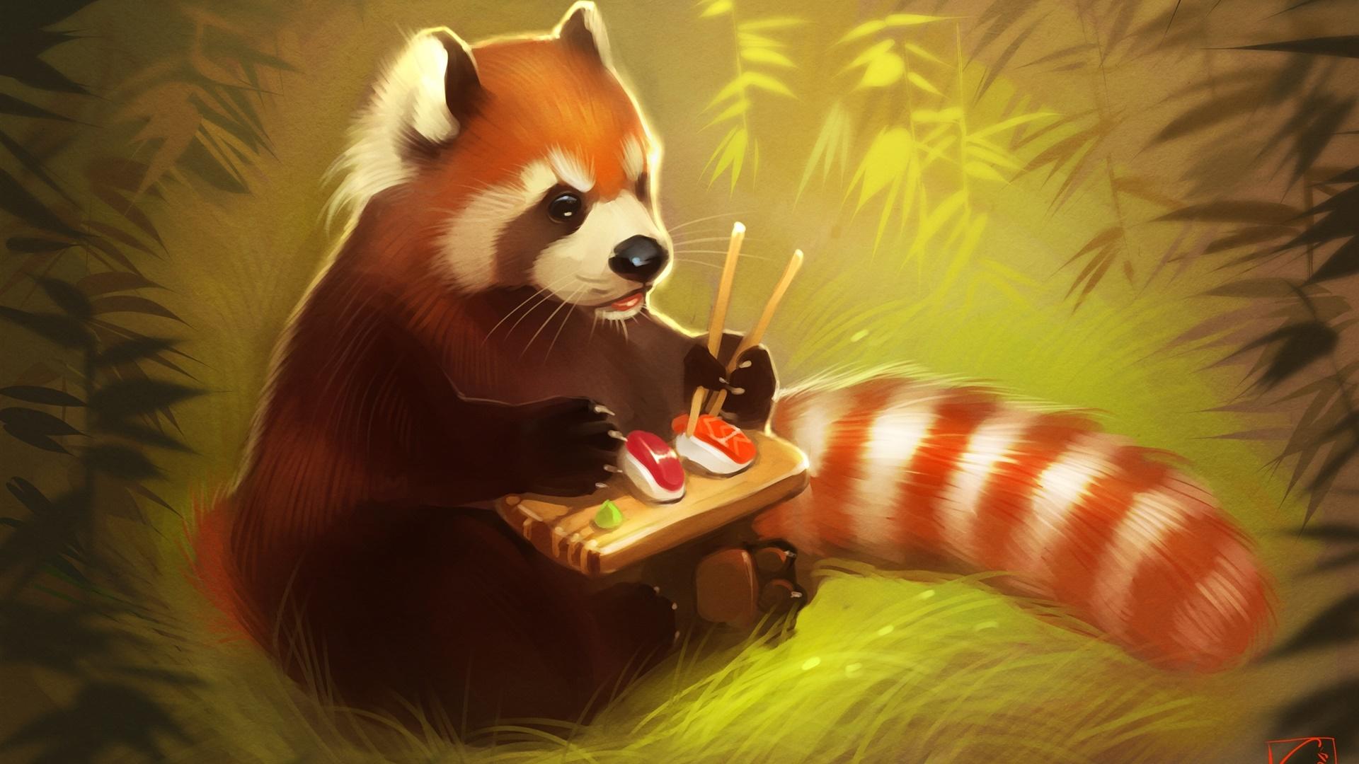 Alimentaire Rouge Panda Manger Sushi Ours Peinture Creative Fonds D Ecran 1920x1080 Fond D Ecran Telecharger Fr Hdwall365 Com
