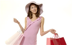 Shopping girl, robe rose HD Fonds d'écran