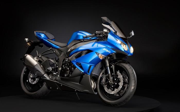 Blue Heavy Bike Hd Wallpaper: Kawasaki Ninja ZX-6R Moto, Bleu Et Noir HD Fonds D'écran