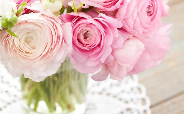 Renoncules Roses Bouquet Fleurs Hd Fonds D Ecran Fleurs Fond D