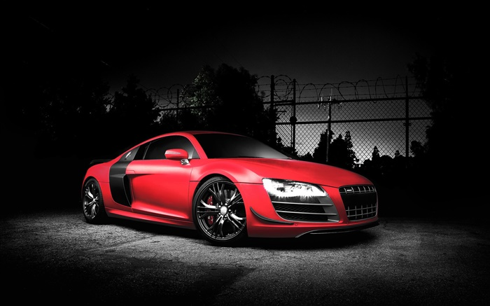 Audi R8 voiture de sport, couleur rouge, nuit HD Fonds d ...