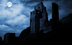 Nuit, lune, ruines, forteresse, nuages