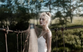 Blanc, robe, blond, girl, pont HD Fonds d'écran
